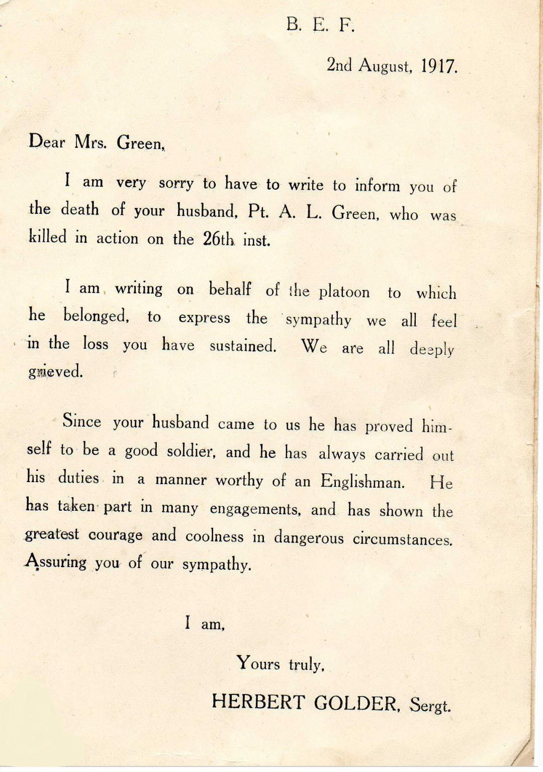 Albert Green 1917